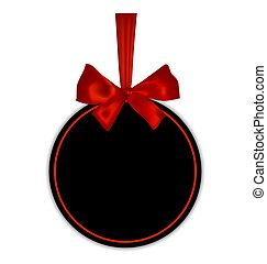 Black empty round gift card template with red ribbon and a bow, isolated on white background, vector illustration.