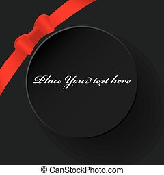 Black empty round gift card template with red ribbon and a bow on black background, vector illustration.