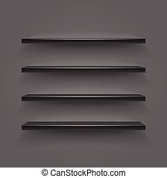 Black empty shelves on dark wall. Vector illustration