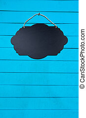 Black Empty Sign Board on wall background