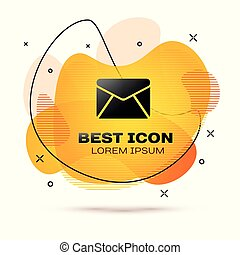 Black Envelope icon isolated on white background. Email message letter symbol. Fluid color banner. Vector Illustration