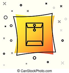 Black Envelope icon isolated on white background. Email message letter symbol. Yellow square button. Vector Illustration