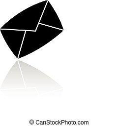 Black envelope isolated on white backround
