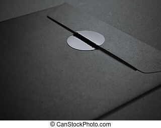 Black envelope with blank sticker