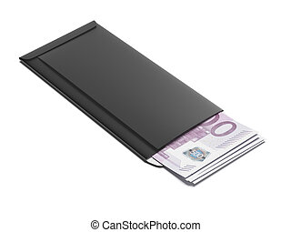 Black envelope with euro bills