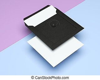 Black envelope with paper