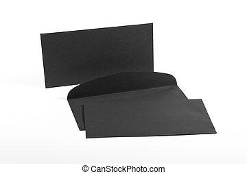 Black envelopes on white background