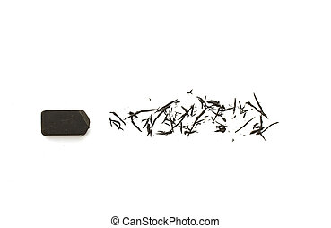 Black eraser on white background.