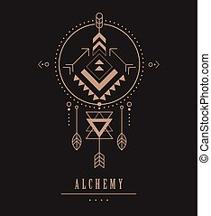 Black and gold Esoteric, Alchemy, sacred geometry, tribal and Aztec, sacred geometry, mystic shapes, symbol and icon
