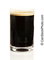 black espresso coffee with cream in a straight glass on white background