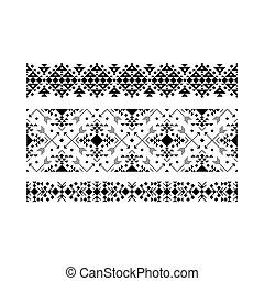 Black ethnic ornamental set on white
