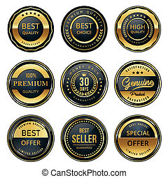 black , etiketten, kwaliteit, goud