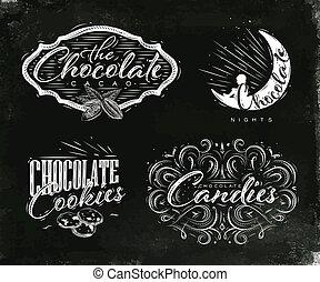 black , etiketten, set, chocolade