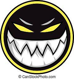 Black evil monster logo illustration vector on white background