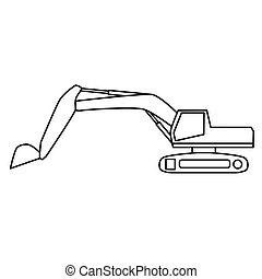 black excavator icon- vector illustration