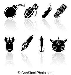 Black explosive icons - Set of black explosive icons,...