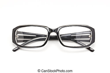 Black eye glasses isolated on white background.