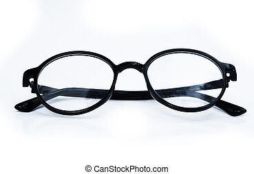 Black Eye Glasses Isolated on White Background. Stylish Eye Glasses