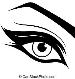 Black eye silhouette close-up - Eye silhouette close-up,...
