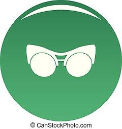 Black eyeglasses icon vector green