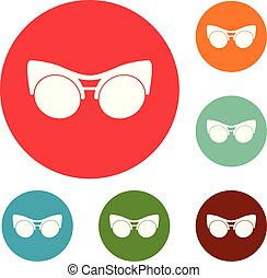 Black eyeglasses icons circle set vector