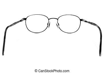 Black Eyeglasses Looking Through Lenses - Black eyeglasses...