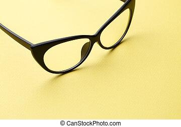 Black eyeglasses with transparent lenses