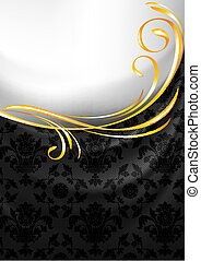 Black fabric curtain, gold vignette