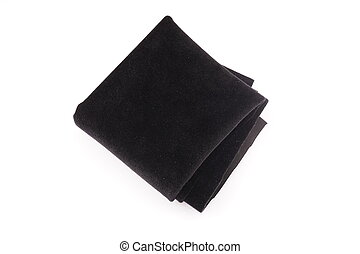 black fabric on white background