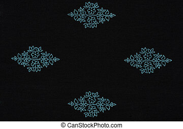 Black fabric with blue pattern