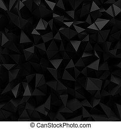 Black faceted 3D background - Displaced 3d triangular...