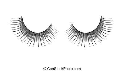 black false eyelashes on an isolated white background...