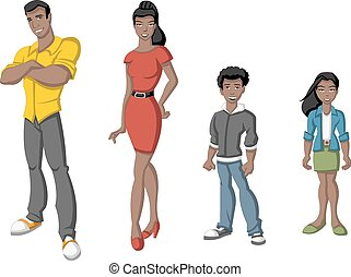 Black family - Happy cartoon african family. Black people.