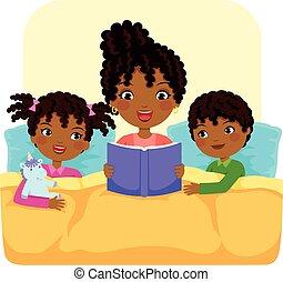 dark skinned woman reading bedtime story to children