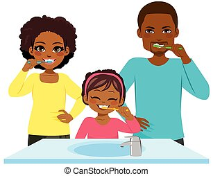 Black Family Washing Teeth Routine - Happy young black...