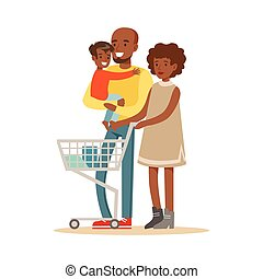 Black Family With Cart Shopping In Department Store ,Cartoon...