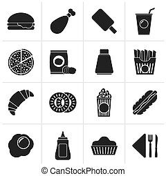 fast food and drink icons - Black fast food and drink icons...
