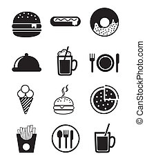 fast food icons - black fast food icons over white ...