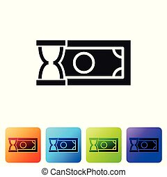 Black Fast payments icon on white background. Fast money transfer payment. Financial services, fast loan, time is money, cash back concept. Set icon in color square buttons. Vector Illustration