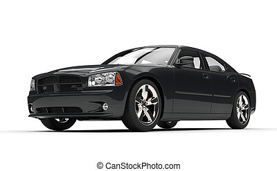 Black Fast Powerful Car Front Side View