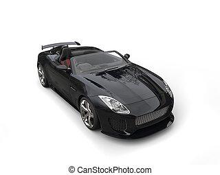 Black fast super sports car - top down