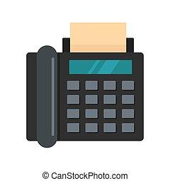 Black fax icon, flat style