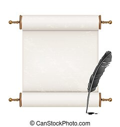 black feather and ancient scroll on white