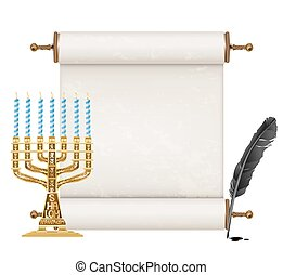 black feather, golden menorah and ancient jewish scroll on white