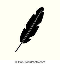 black feather icon- vector illustration