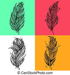 Black feather icons. Set of logo design vector templates