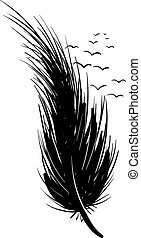 Black feather, illustration, vector on white background.
