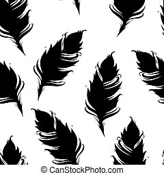 Black feather silhouette isolated on White background. Seamless pattern. Vector illustration