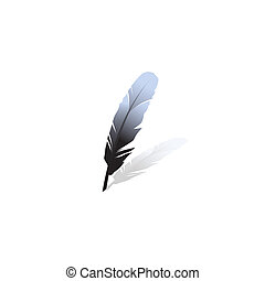 Black feather on a white background. Vector illustration