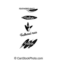 Black feathers silhouettes for logotype design